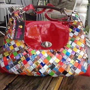 Vtg 90s Nahui Ollin Metallic Wrapper Handbag Purse